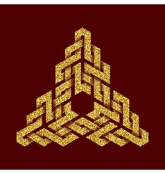 Golden glittering logo template in Celtic knots vector