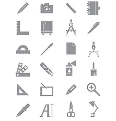 Gray design icons set vector image