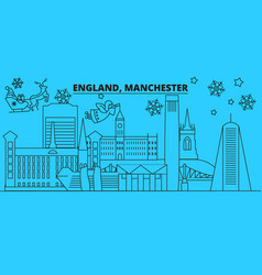 great britain manchester winter holidays skyline vector image