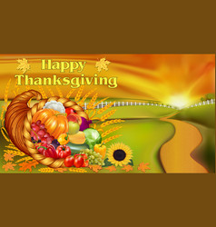 greeting card for thanksgiving with cornucopia of vector image