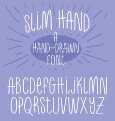 hand drawn alphabet skinny handwriting font vector image