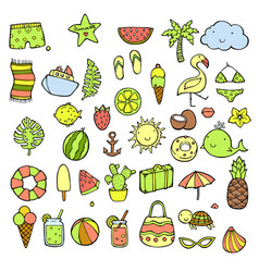 hand drawn summer icons set doodle icon style vector image