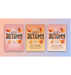 happy autumn seasons greetings card background vector image