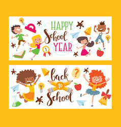 happy school year set banners vector image