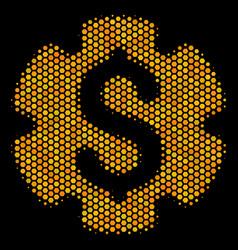 Hexagon halftone financial settings gear icon vector