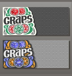 Horizontal banners for craps gamble vector