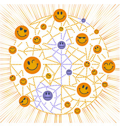 icon world smile day concept of positive vector image