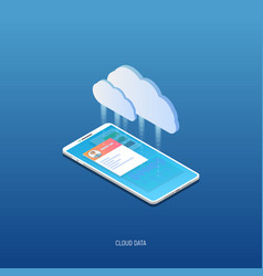 Isometric mobile phone and cloud storage vector