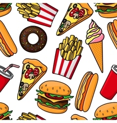 Junk food and drinks retro seamless pattern vector