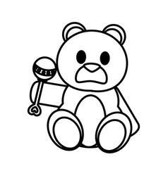 Line bear teddy cute toy with rattle vector