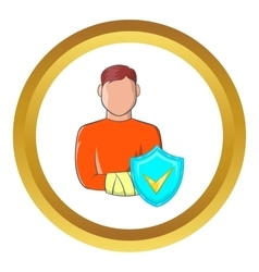 Man with broken arm icon vector