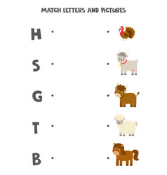 Match farm animals and beginning sounds game for vector