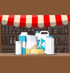 milk street market milk store stall vector image