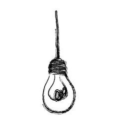 Monochrome sketch with hanging light bulb vector
