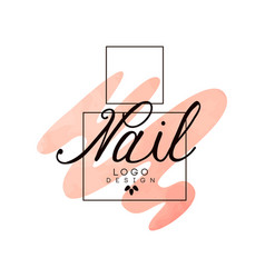 Nail logo design element for nail bar manicure vector