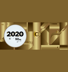 New year 2020 abstract geometric and fluid gold vector