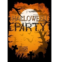 Night halloween a4 format poster with creepy vector