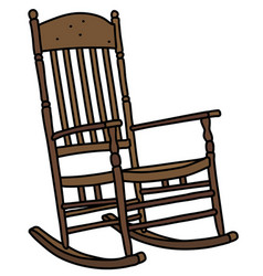 Old wooden rocking chair vector