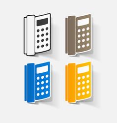 Paper clipped sticker landline phone vector