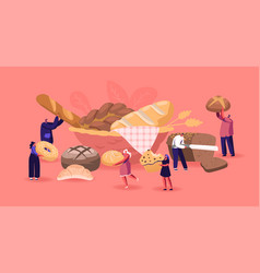 People eating and cooking bakery concept tiny vector