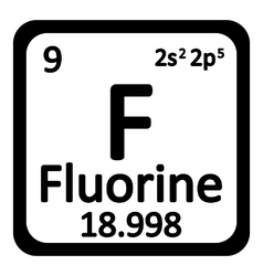 Periodic table element fluorine icon vector