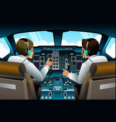 Pilots in cockpit vector