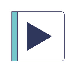 play button icon in blue color sections silhouette vector image