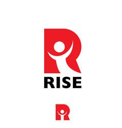 R letter rise letter based symbol vector