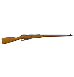 Realistic detailed rifle side view antique brown vector