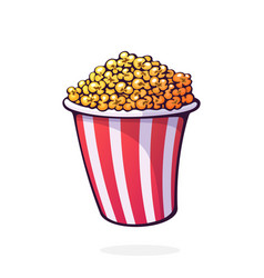 red and white striped bucket full popcorn vector image