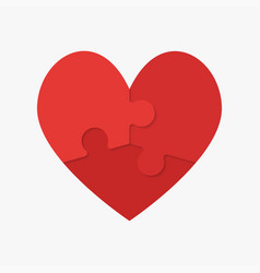Red puzzle heart jigsaw logotype medical vector