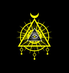 Sacred masonic symbol all seeing eye icon vector