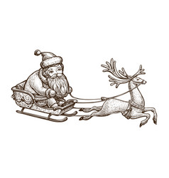 Santa claus is riding in a sleigh christmas vector