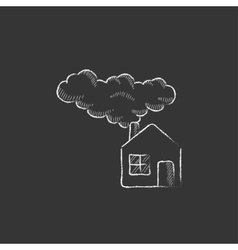 Save energy house Drawn in chalk icon vector image