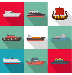 Sea boat icons set flat style vector