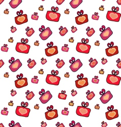 Seamless pattern with gifts hearts vector image
