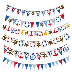 Set of isolated nautical garland vector