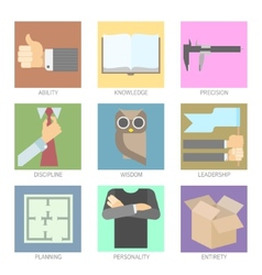 Set of Modern Icons for Flat UI Design vector image