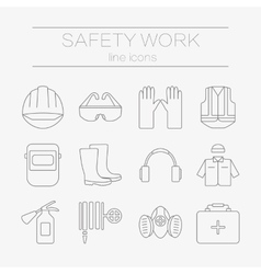 Set of safety work icons including tools vector
