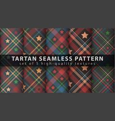 Set star tartan seamless pattern vector