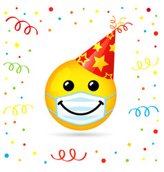 smiling in medical mask party hat vector image