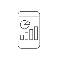 Statistics on smartpfone screen outline icon vector