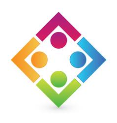 Teamwork working together square logo vector