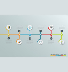 Timeline graph with business icons vector