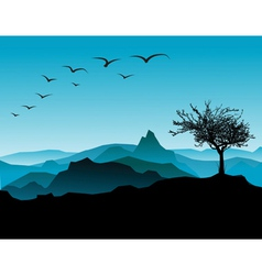 tree with mountains vector image