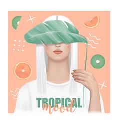 Tropical mood t-shirt fashion print with girl vector