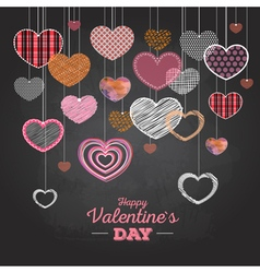 Valentine day card with love hearts vector image