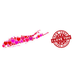 Valentine heart collage long island map with vector