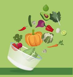 Vegetables salad fresh ingredients image vector