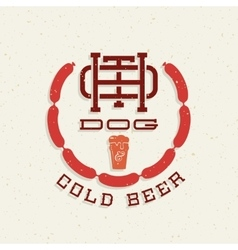 Vintage hot dog and cold beer emblem sign vector